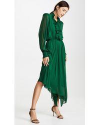 Divine Héritage Ruffle Front Hanky Hem Midi Dress - Green