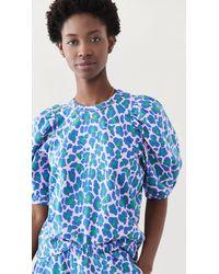Clare V. Puff Sleeve Sweatshirt - Blue