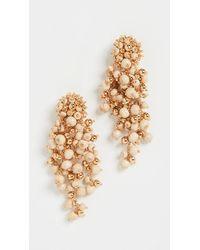 Oscar de la Renta Beaded Cascade Drop Earrings - White