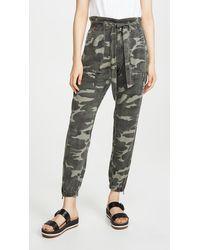 Pam & Gela Folded Waist Camo Trousers - Green