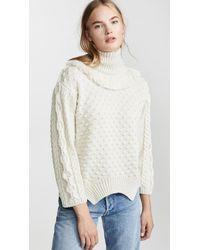 Nude Turtleneck Sweater With Fringe - White