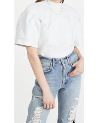 Agolde The Round Shoulder Half Sleeve Box Sweatshirt - White