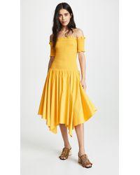 Petersyn Jackie Smocked Off Shoulder Dress - Yellow