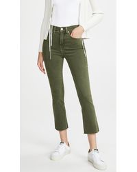 Veronica Beard Carly High Rise Kick Flare Jeans With Raw Hem - Green