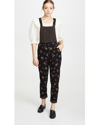 Madewell Cord Floral Overalls - Black