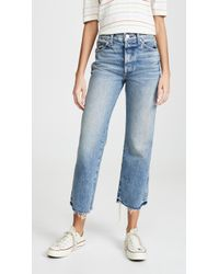 AMO Emma Relaxed Cropped Boot Jeans - Blue