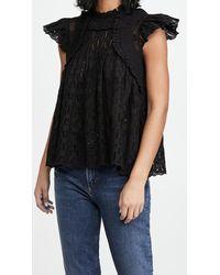 Sea Ingrid Flutter Sleeve Top - Black