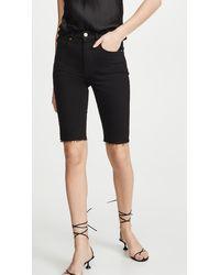 FRAME Le Vintage Bermuda Raw Edge Shorts - Black