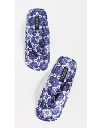 Pedro Garcia + Raquel Allegra Kaname Printed Satin Flip Flops - Blue