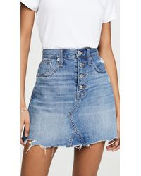 Madewell Frisco A-line Skirt With Button Front - Blue