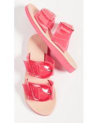 Ancient Greek Sandals Iaso Slides - Pink
