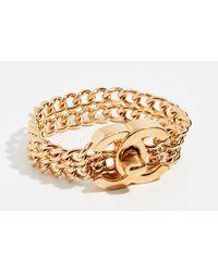 What Goes Around Comes Around Chanel Chain Turnlock Bracelet - Metallic