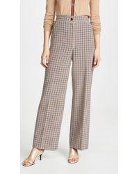 Tory Burch Plaid Wide-leg Trousers - Multicolour