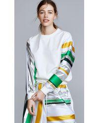 Prabal Gurung Denim Sweatshirt With Metallic Sleeves - Multicolor