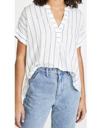 Madewell Lakeline Popover Shirt In Stripe - White