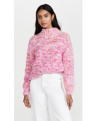 Rose Carmine High Neck Sweater - Pink