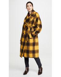 Sea Amber Plaid Coat - Yellow