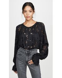 Free People Olivia Lace Top - Black