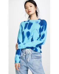Autumn Cashmere Cashmere Blotch Print Boyfriend Crew Jumper - Blue