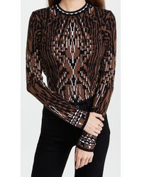 Hayley Menzies Jacquard Fitted Sweater - Black