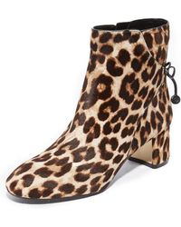 Tory Burch | Laila Leopard Print Calf Hair Booties | Lyst