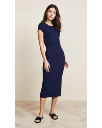 Enza Costa Ribbed Cap Sleeve Dress - Blue
