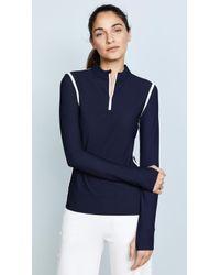 Tory Sport Parallel Stripe Reflective Quarter Zip Pullover - Blue