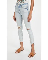 Mother The Stunner Zip Ankle Step Fray Jeans - Blue