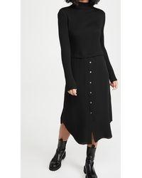 Theory Long Sleeve Combo Dress - Black