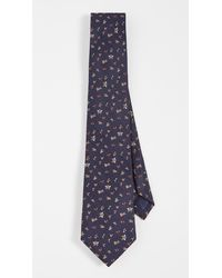 Paul Smith Floral Bee Tie - Blue