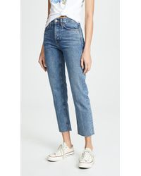 RE/DONE High Rise Rigid Stove Pipe Jeans - Blue