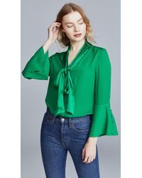 Alice + Olivia - Merideth Pussy-bow Satin And Silk Crepe De Chine Blouse - Lyst