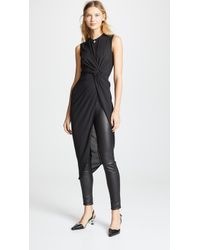 Yigal Azrouël Knotted Front Tunic Top - Black