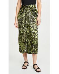 Ganni Silk Stretch Satin Skirt In Lime Tiger - Green