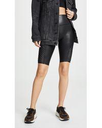 Spanx Faux Leather Moto Bike Shorts - Black