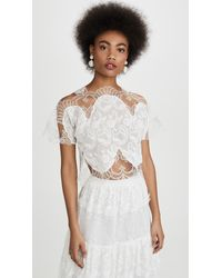 Costarellos Paisley Embroidered Crop Top - White