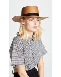 b7b89a53a Lyst - Janessa Leone Claire Tall Crown Panama Hat in Natural