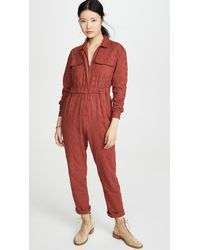 Free People Set The Tone Jumpsuit - Red