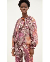 F.R.S For Restless Sleepers Eleno Paradise Silk Twill Top - Red