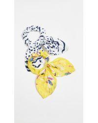 Tanya Taylor Mixed Prints Scrunchies - Yellow