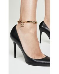What Goes Around Comes Around Chanel Gold/black Leather Anklet - Metallic