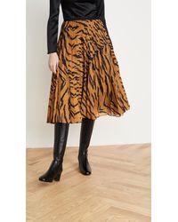 Adam Lippes Tiger-stripe Pleated Midi Skirt - Multicolor