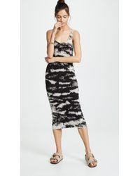 Enza Costa Stretch Silk Rib Tank Midi Dress - Black