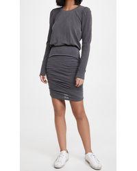 Sundry Puff Sleeve Shirred Dress - Grey
