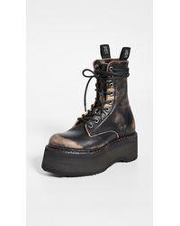 R13 Distressed Platform Boots - Black