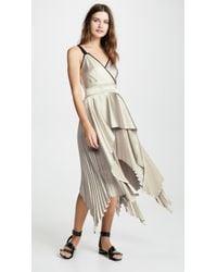 Yigal Azrouël - Textured V Neck Pleat Dress - Lyst