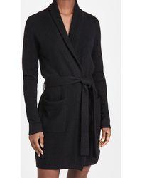 White + Warren Cashmere Short Robe - Black