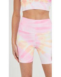 Beach Riot Ribbed Bike Shorts - Pink