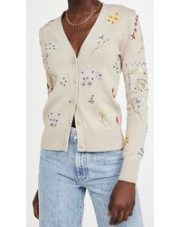 Tory Burch Floral Embroidered Simone Cardigan - Natural