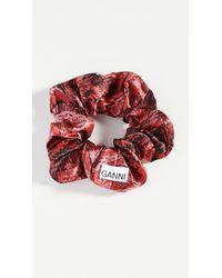 Ganni Silk Satin Scrunchie - Red